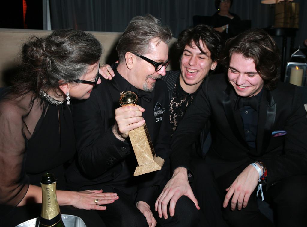Gisele Schmidt, Gary Oldman, Charlie John Oldman, Gulliver Flynn Oldman, 2018 Golden Globes, Party Pics