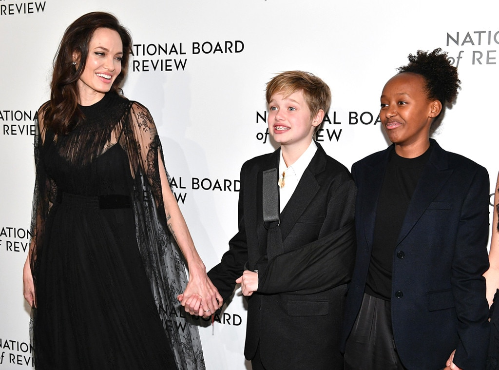 Angelina Jolie and Daughters Wear Coordinating Red Carpet Looks
