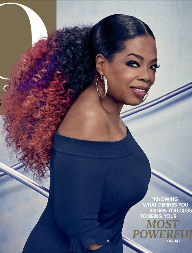 Oprah Winfrey Rocks Pink Purple Hair