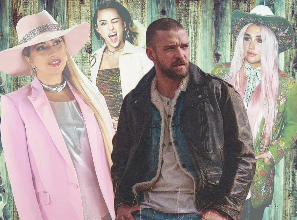 Justin Timberlake, Country Music, Kesha, Lady Gaga, Miley Cyrus