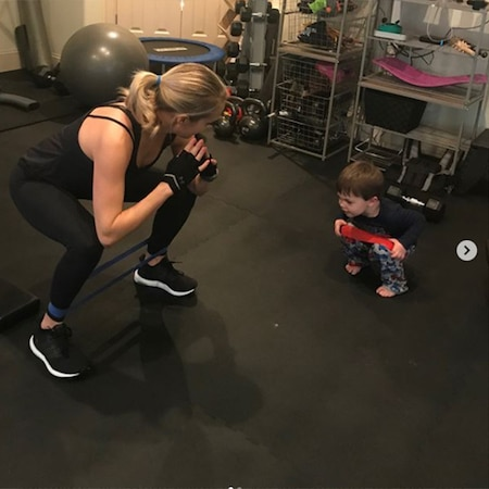 rs 600x600 180210155721 carrie underwood son 600 ms.031018 - Carrie Underwood Enlists Her Son's Help for Latest Workout After Fall