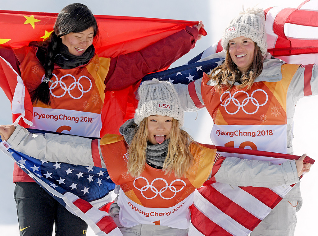 Jiayu Lium, Chloe Kim, Arielle Gold, 2018 Winter Olympics