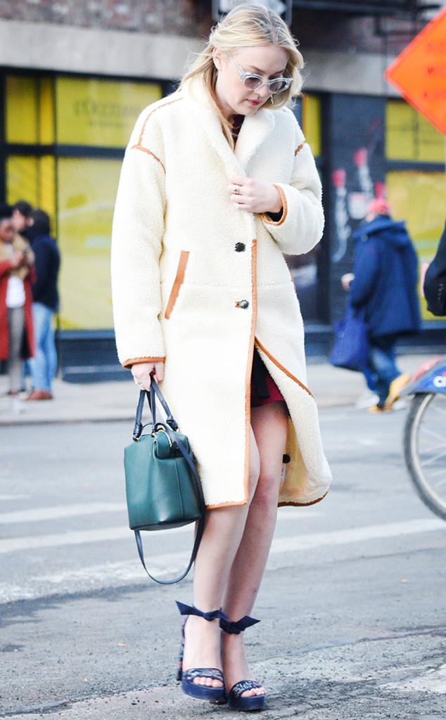 Saturday Savings: Dakota Fanning's Shearling Coat Is on Sale Now!