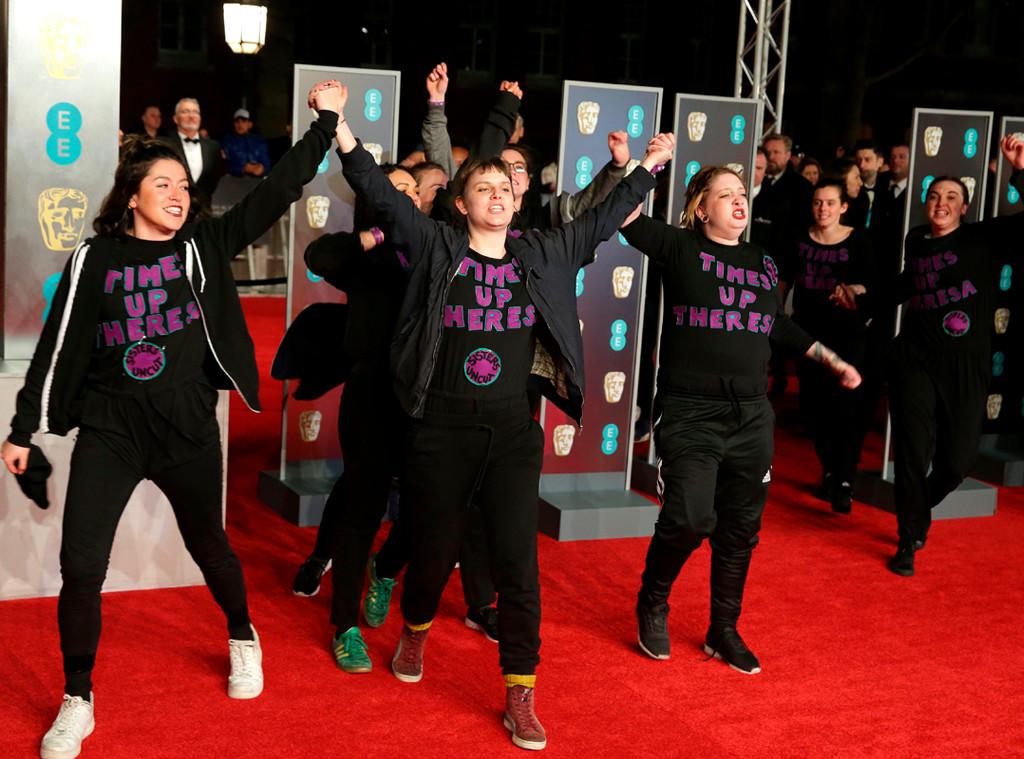 Baftas: Protesters Crash 2018 BAFTA Film Awards Red Carpet