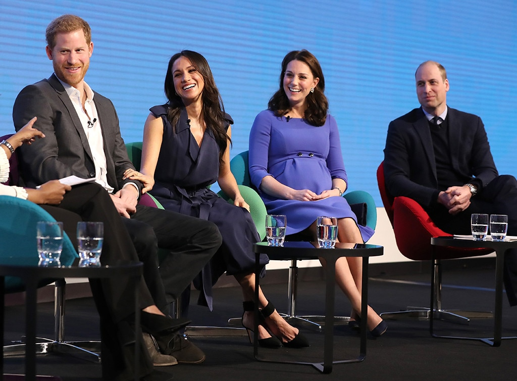 Prince William and Kate Middleton appear with Prince Harry and Meghan Markle