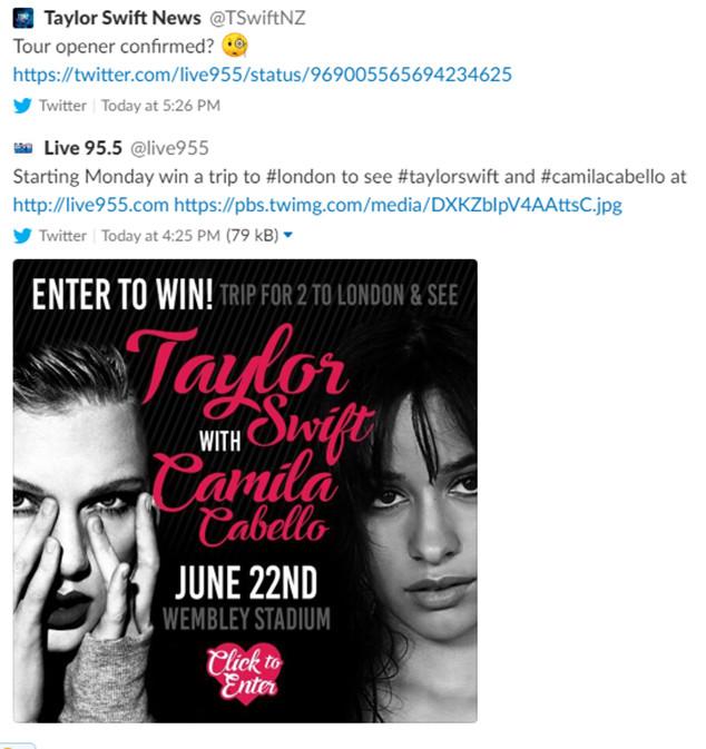 Taylor Swift, Camila Cabello, Tweet