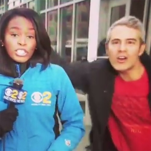 Andy Cohen, TV reporter, Janelle Burrell, WCBS