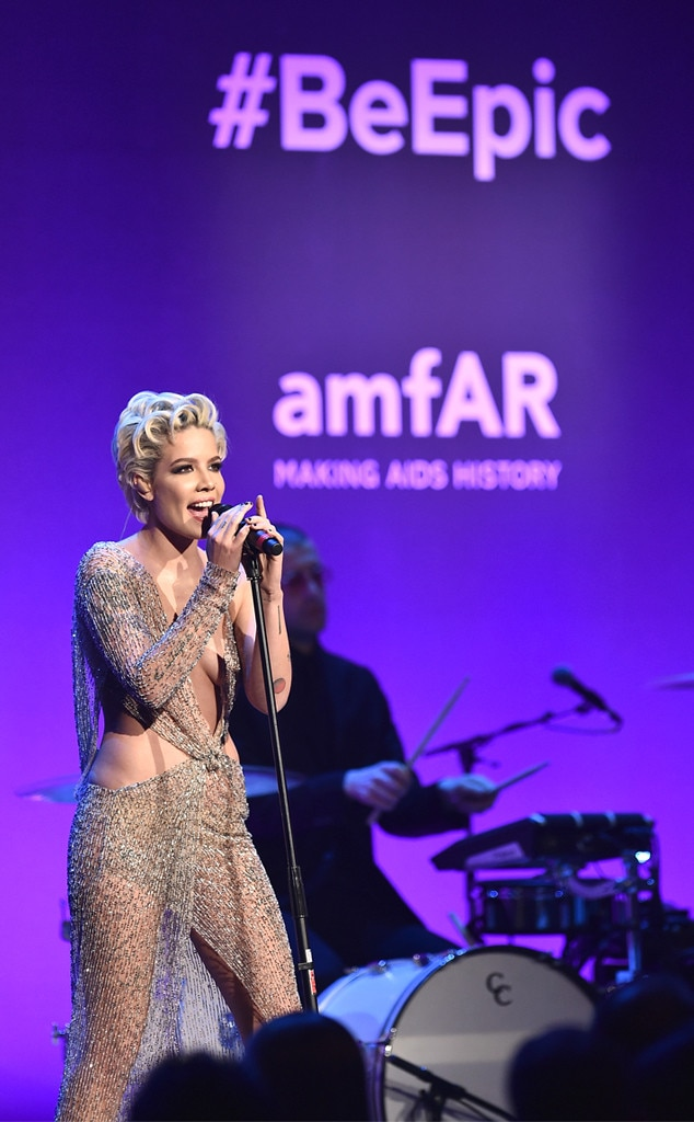 """Halsey -  The """"Him & I"""" singer looks like a mermaid caught in a fisherman's net onstage at the2018 amfAR Gala in New York."""