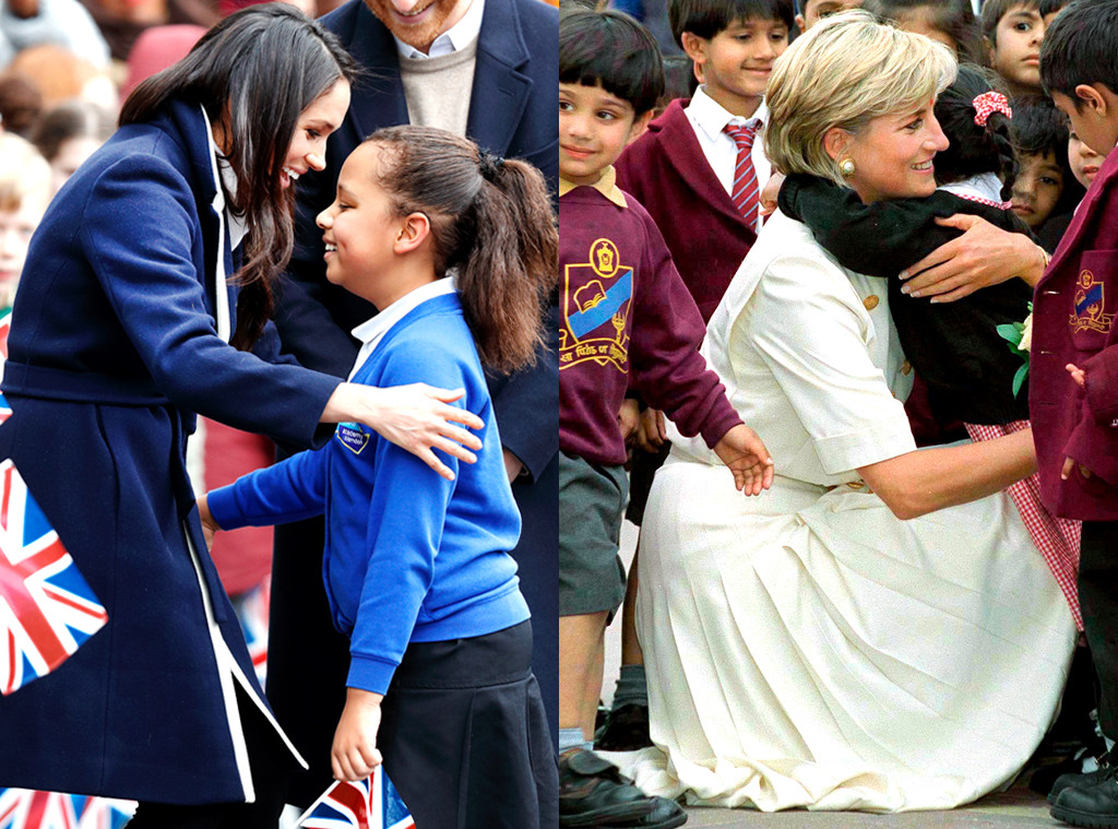Meghan Markle, Princess Diana, Hugging Kids
