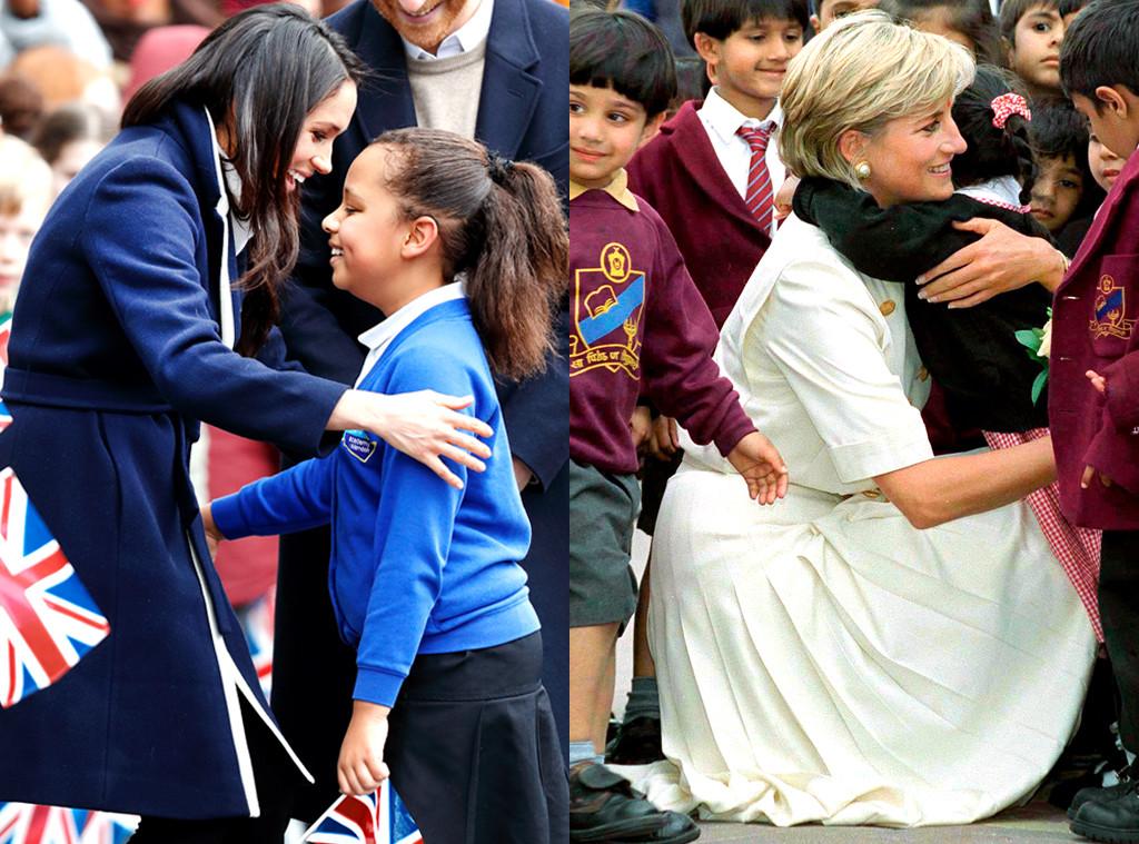 Meghan Markle, Princess Diana, Hugging Children