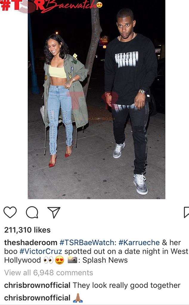 Karrueche Tran, Victor Cruz, Chris Brown, Instagram