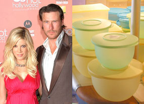 Tori Spelling, Dean McDermott, and Tupperware products
