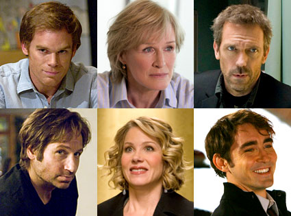 Michael C. Hall (Dexter), Glenn Close (Damages), Hugh Laurie (House), David Duchovny (Californication), Christina Applegate (Samantha Who?), Lee Pace (Pushing Daisies)