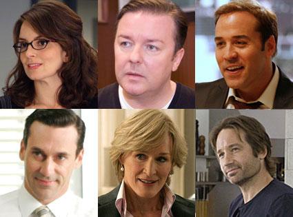 Tina Fey (30 Rock), Ricky Gervais (Extras), Jeremy Piven (Entourage), Jon Hamm (Mad Men), Glenn Close (Damages), David Duchovny (Californication)