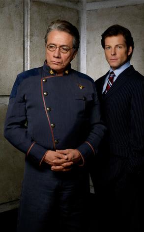 Edward James Olmos, Jamie Bamber in Battlestar Galactica