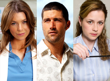 Ellen Pompeo (Grey's Anatomy), Matthew Fox (Lost), Jenna Fischer (The Office)