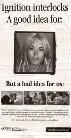 Lindsay Lohan, Interlock Ignition Ad