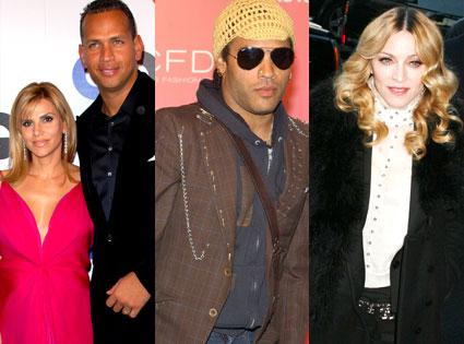 Alex Rodriguez, Cynthia Scurtis, Lenny Kravitz, Madonna