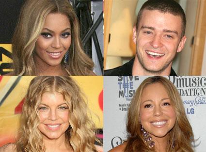 Beyonce, Justin Timberlake, Fergie, Mariah Carey