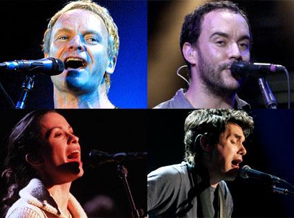 Sting, Dave Matthews, Alanis Morissette, John Mayer
