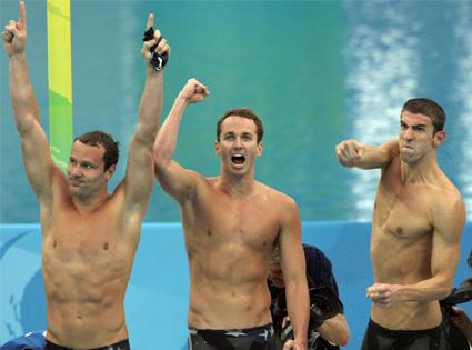 Brendan Hansen, Aaron Peirsol, Michael Phelps
