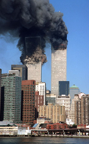 Twin Towers burning, 9/11