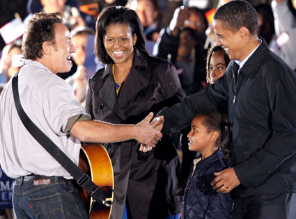 Bruce Springsteen, Barack Obama, Michelle Obama