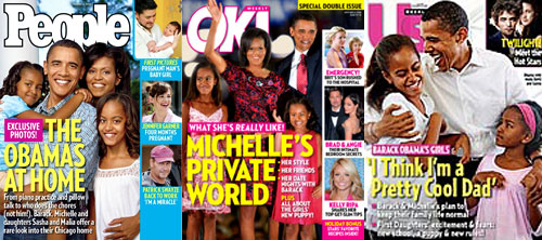 Barack Obama, Michelle Obama, Malia Obama, Sasha Obama, People Magazine, OK! Magazine, Us Weekly