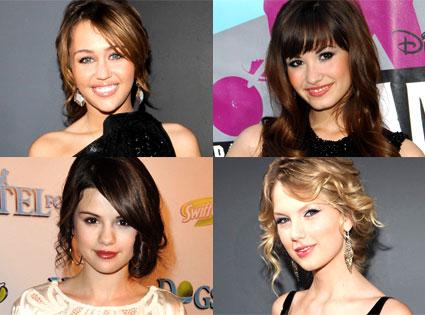 Miley Cyrus, Demi Lovato, Selena Gomez, Taylor Swift
