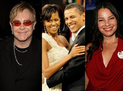 Elton John, Michelle Obama, Barak Obama, Fran Drescher