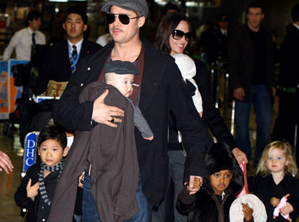 Brad Pitt, Angelina Jolie, Knox, Pax, Shilo, Zahara