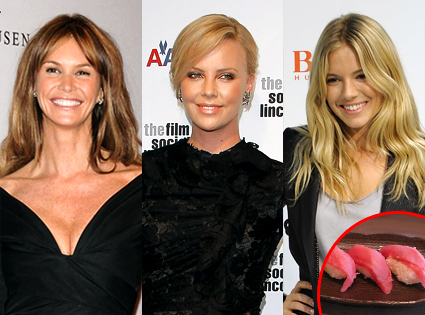 Elle MacPherson, Charlize Theron, Sienna Miller, Sushi