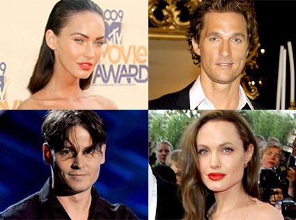 Megan Fox, Matthew McConaughey, Johnny Depp, Angelina Jolie