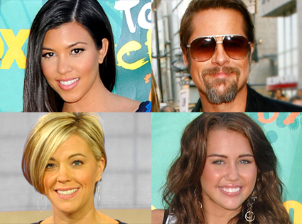 Kourtney Kardashian, Brad Pitt, Kate Gosselin, Miley Cyrus