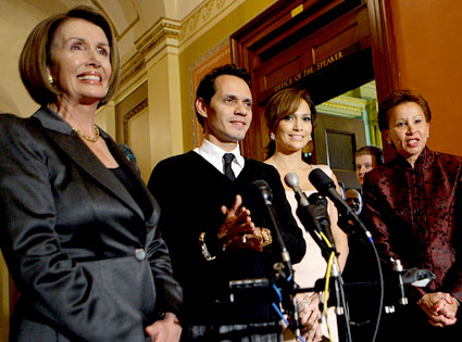 Nancy Pelosi, Jennifer Lopez, Marc Anthony, Nydia Velazquez
