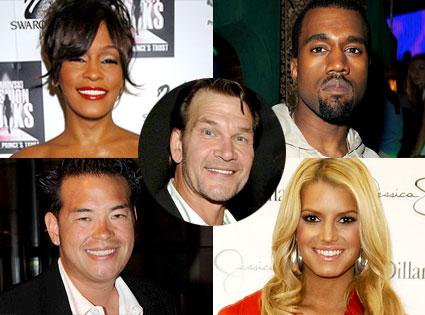 Whitney Houston, Kanye West, Jon Gosselin, Jessica Simpson, Patrick Swayze