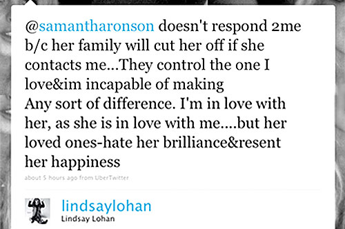 Lindsay Lohan, Twitter Page