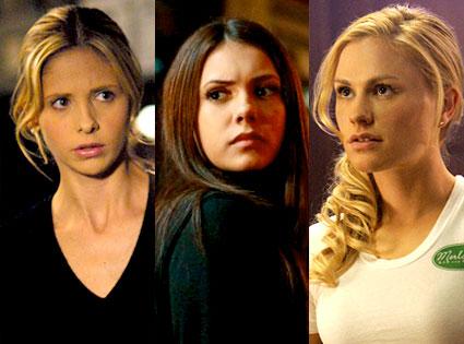 Sarah Michelle Gellar, Buffy the Vampire Slayer, Nina Dobrev, The Vampire Diaries, Anna Paquin, True Blood