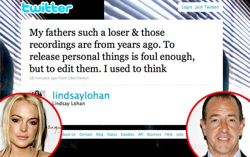 Lindsay Lohan, Michael Lohan, Twitter