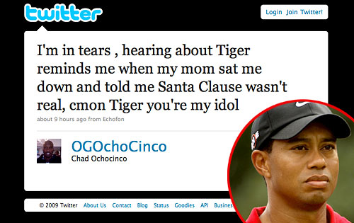 Chad OchoCinco, Twitter, Tiger Woods