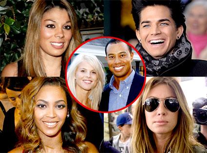 Jaimee Grubbs, Adam Lambert, Beyonce Knowles, Rachel Uchitel, Tiger Woods, Elin Woods