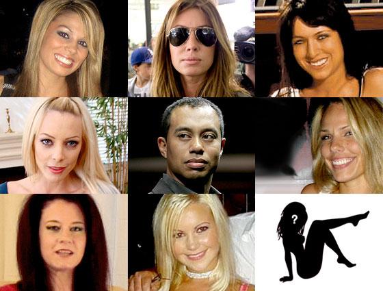 Jaimee Grubbs, Rachel Uchitel, Kalika Moquin, Holly Sampson, Tiger Woods, Cori Rist, Mindy Lawton, Jamie Jungers