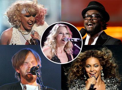 Lady Gaga, Will.I.Am., Caleb Followill, Kings of Leon, Beyonce, Taylor Swift