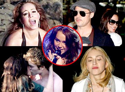 Mariah Carey, Brad Pitt, Angelina Jolie, Robert Pattinson, Kristen Stewart, Madonna, Miley Cyrus