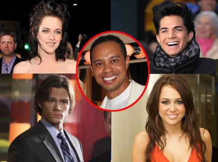 Kristen Stewart, Adam Lambert, Jared Padaleki, Miley Cyrus, Tiger Woods