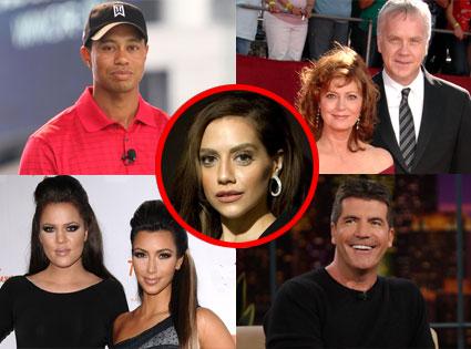 Tiger Woods, Susan Sarandon, Tim Robbins, Kim Kardashian, Khloe Kardashian, Simon Cowell