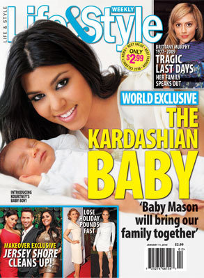 Life and Style Cover, Kourtney Kardashian, Scott Disick, Mason