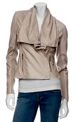 Vince Leather Drape Neck Jacket