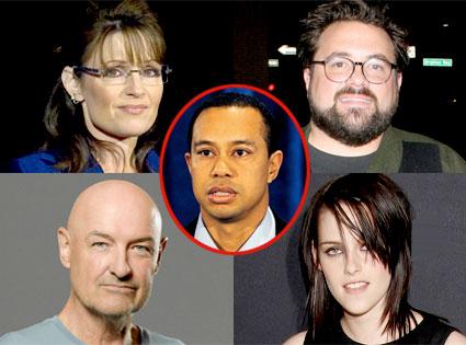 Sarah Palin, Kevin Smith, Terry O'Quinn, Kristen Stewart, Tiger Woods