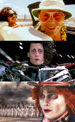 Johnny Depp, Fear and Loathing in Las Vegas, Edward Scissorhands, Alice in Wonderland